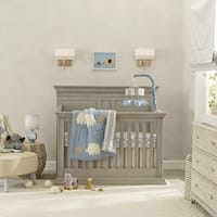 Lambs & Ivy Signature Elephant Tales Blue/Gray/White Stripe 4-Piece Nursery Baby Crib Bedding Set