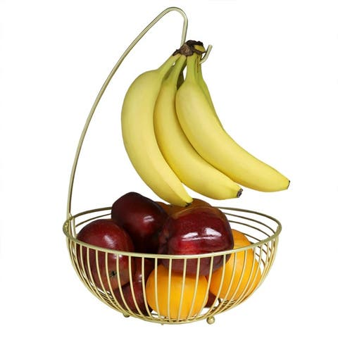Halo Steel Fruit Basket with Banana Hanger, Gold