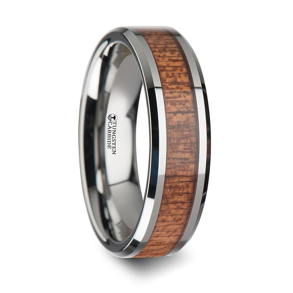 THORSTEN - CONGO Tungsten Wedding Band with Polished Bevels and African Sapele Wood Inlay - 6mm