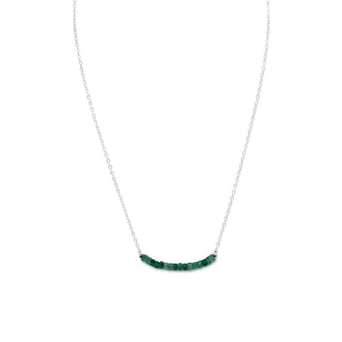 Sterling Silver Faceted Beryl Beads May Birthstone Necklace
