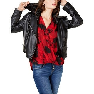 Link to I-N-C Womens Velvet Hoodie Faux-Leather Jacket Similar Items in Women's Outerwear