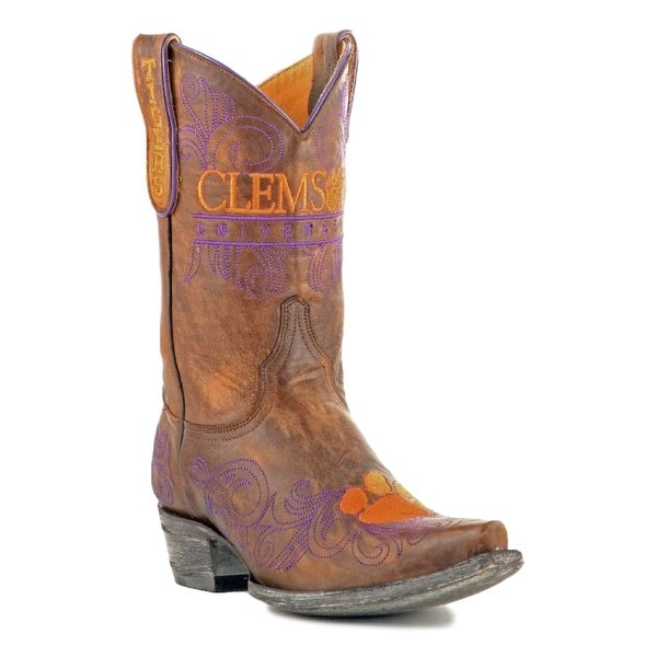 Gameday Boots Womens College Clemson Tigers Brass Orange
