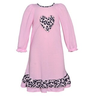 Laura Dare Little Girls Pink Leopard Trim Heart Applique Nightgown