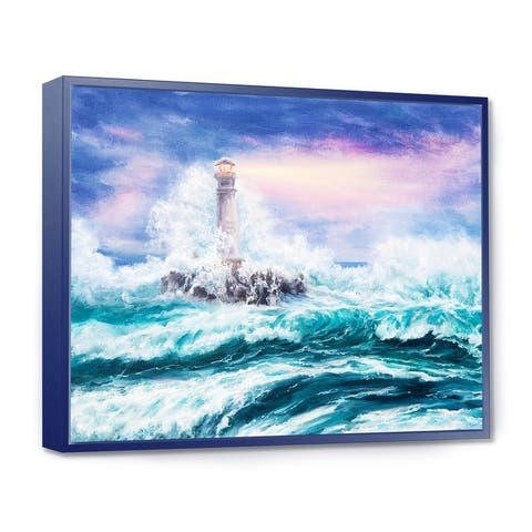 Designart 'Lighthouse Wild Blue Ocean Waves' Nautical & Coastal Framed Canvas Wall Art Print