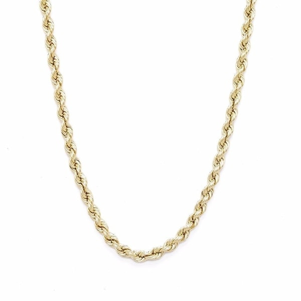 "Hollow Rope Necklace 10K Yellow Gold 30"" Inch Mens Or Womens Chain 2.5 MM"