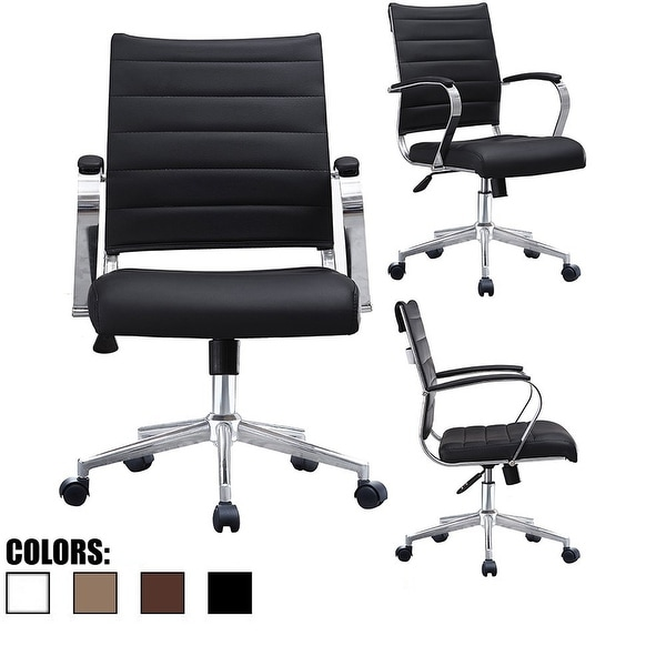 2xhome Black Office Chairs Mid Back Ribbed PU Leather Executive Task Work Conference With Arms Wheels Tilt Swivel Rolling