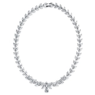 Bling Jewelry Marquise Teardrop Bridal Tennis Necklace 18 Inches Rhodium Plated