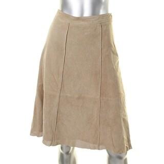 Lauren Ralph Lauren Womens Daelle A-Line Skirt Goat Suede Below Knee