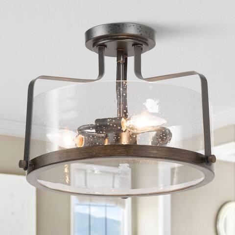 """Farmhouse 3-light Glass Drum Chandelier Semi-Flush Mounts Ceiling Lights - D14"""" x H10.5"""""""