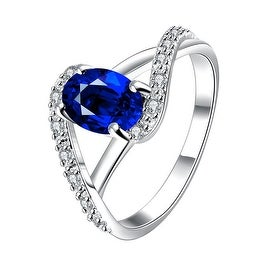 Petite Mock Sapphire Swirl Design Twist Ring