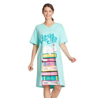 Link to Little Blue House by Hatley Womens Cat Nap Nightshirt - Cute Sleep Shirt - One Size Similar Items in Intimates