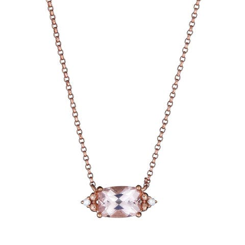 10K Rose Gold Morganite & Diamond Necklace by Anika and August - White