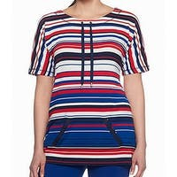 Ruby Rd. Red White Womens Plus Striped Knit Top