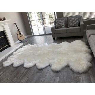 """Dynasty 12-Pelt Luxury Long Wool Sheepskin Off White Shag Rug - 5'5"""" x 9'2"""""""