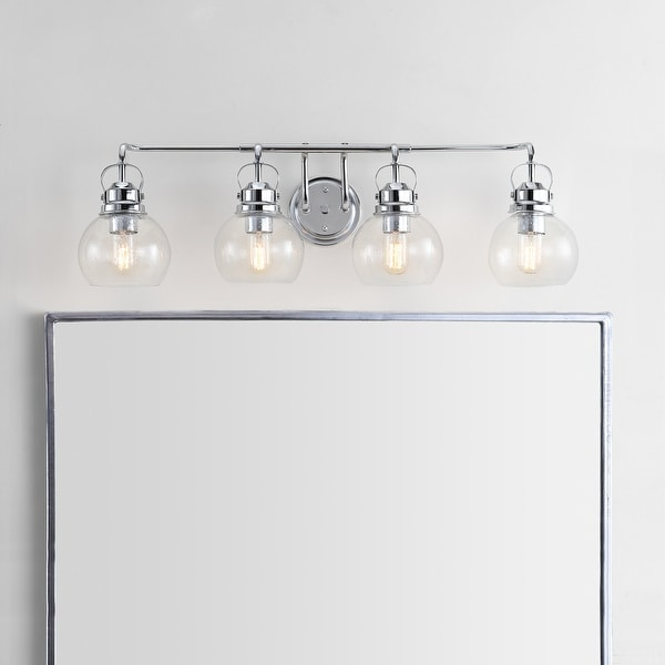 """Shirley 34"""" 4-light Metal/ Bubbled Glass Vanity Light, Chrome by JONATHAN Y. Opens flyout."""
