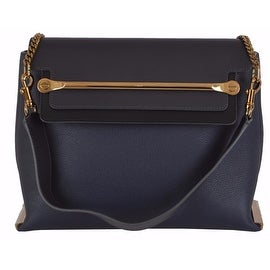 New CHLOÉ $2,460 Navy Black Colorblock Calf Leather Clare Purse Shoulder Bag
