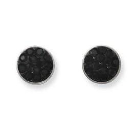 Stainless Steel Black Crystal Post Earrings