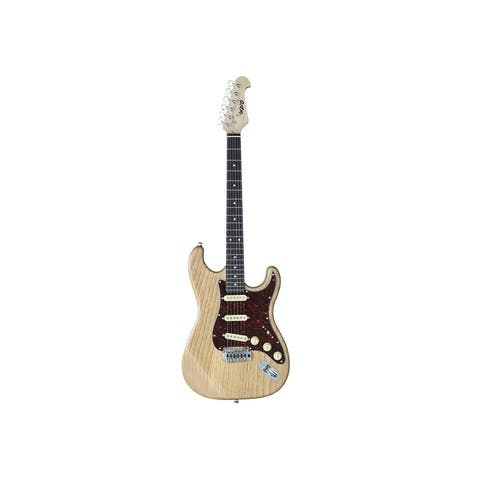Monoprice Cali DLX Plus Solid Ash Electric Guitar - Natural, With Gig Bag
