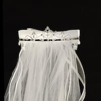 "Girls White Cross Rhinestone Satin Bow Communion 24"" Veil"