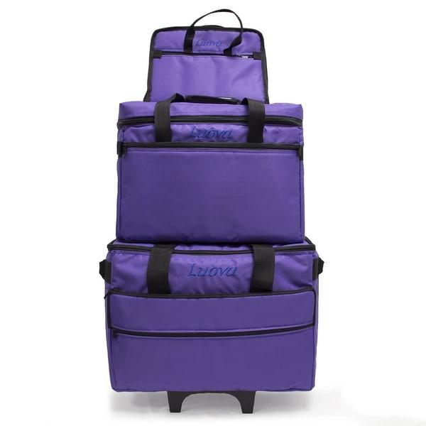 """Luova 19"""" 3 Piece Rolling Sewing Machine Trolley Set in Purple"""