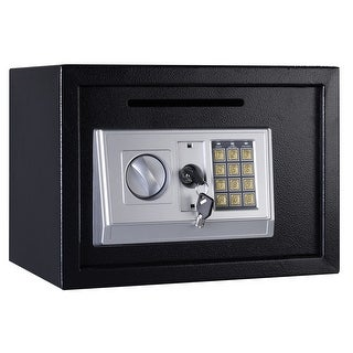 Gymax Digital Depository Drop Cash Safe Box Gun Jewelry Lock Black