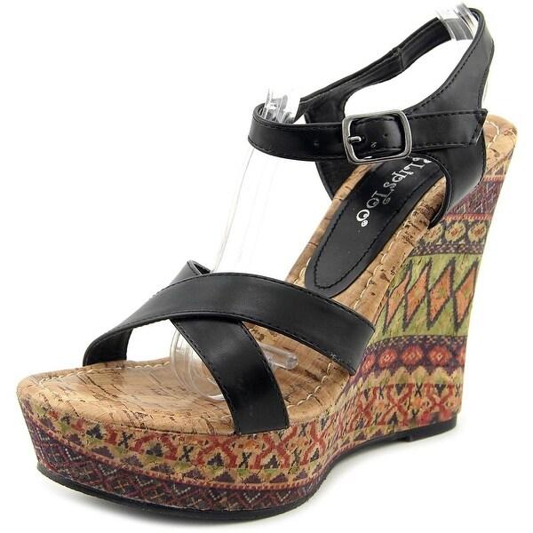 2 Lips Too Too Paint Women Open Toe Synthetic Black Wedge Heel