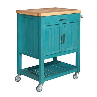 "Powell Home Fashions D1008A15  Conrad 30"" Wide Wood Island Cart with Butcher Block Top"