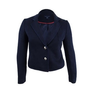 Tommy Hilfiger Women's Two-Button Blazer with Ribbed Trim - sky captain