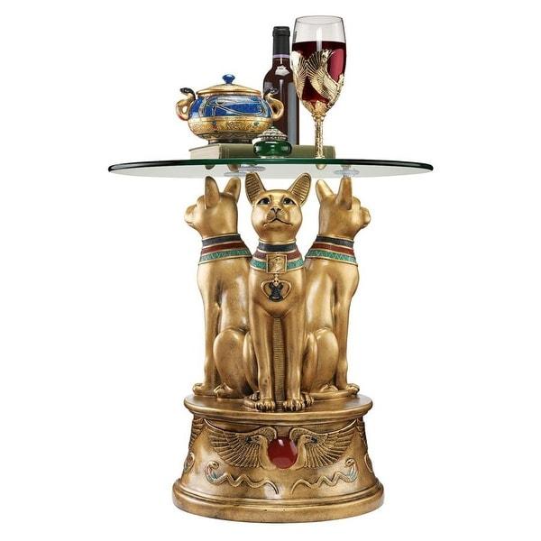 Design Toscano Royal Golden Bastet Egyptian Side Table