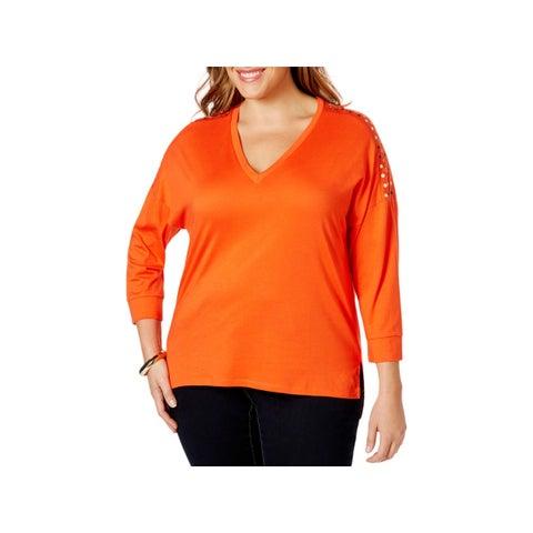 MICHAEL Michael Kors Womens Pullover Top Hi-Low Embellished - 0X
