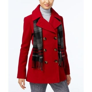 London Fog Petite Double-Breasted Peacoat Red Size Petite XS