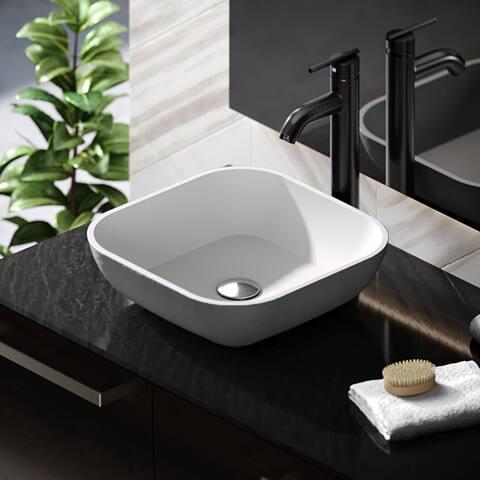 R11-5003-Platinum Stone Composite Square Vessel Sink Kit