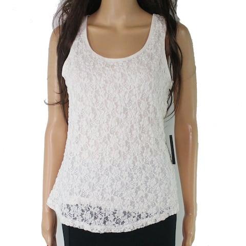 Cable & Gauge Women's Blouse White Size Medium M Lace Scoop Neck