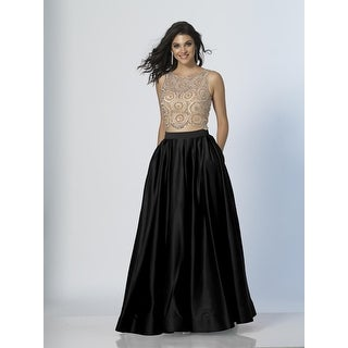 Beaded Satin A-Line Two-Piece (Option: Black)
