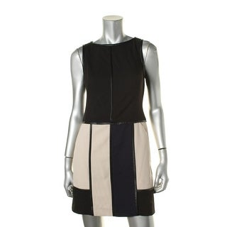 Lauren Ralph Lauren Womens Petites Colorblock Faux Leather Trim Cocktail Dress - 4P