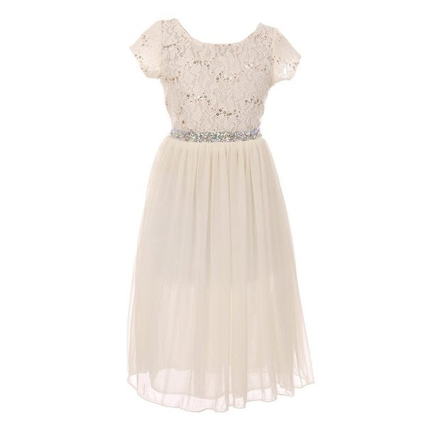 Shop Girls Ivory Sparkle Sequin Adorned Junior Bridesmaid Flower Girl Dress - Free Shipping On Orders Over $45 - Overstock.com - 23085639