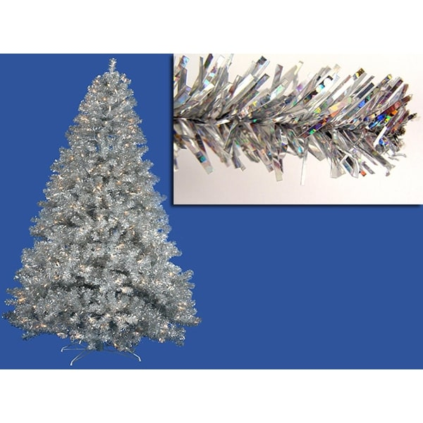 4' Pre-Lit Sparkling Silver Full Artificial Tinsel Christmas Tree - Clear Lights