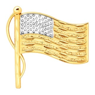 American Flag Pin in 10K Gold With Brass Back Closure - Two-Tone
