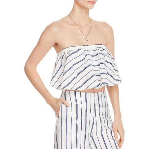 Aqua Womens Tube Top Striped Strapless - White/Navy