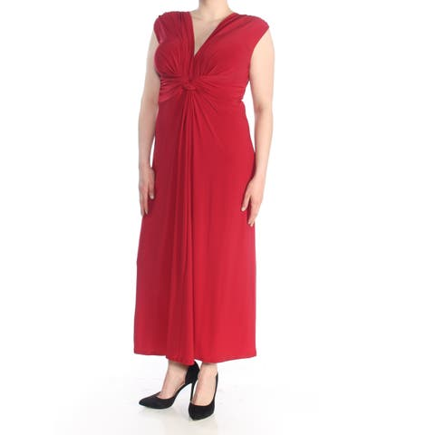 LOVE SQUARED Womens Red Knotted Sleeveless Maxi Formal Dress Plus Size: 1X