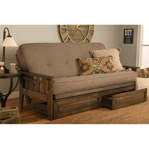 Somette Tucson Full Size Futon Frame in Rustic Walnut Finish with Storage Drawers, Mattress not included