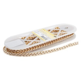 "Simplicity Metallic Braid Trim .375""X10yd-White W/Gold Metallic"