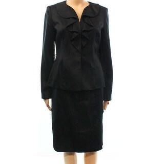 Kasper NEW Black Sateen Women's Size 18 Ruffled Pencil Skirt Suit Set
