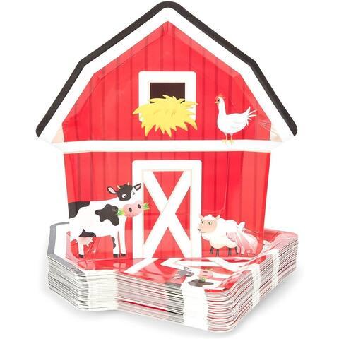 "48 Farm House Party Paper Plates Barnyard Animal Birthday Supplies Baby Shower - 9"" X 9"""