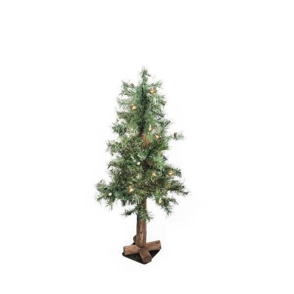 """3' x 21"""" Pre-Lit Traditional Woodland Alpine Artificial Christmas Tree - Clear Lights"""