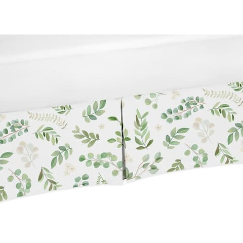 Floral Leaf Collection Girl Crib Bed Skirt - Green and White Boho Watercolor Botanical Woodland Tropical Garden