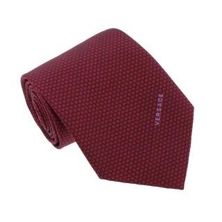 Versace Bordeaux Woven Honeycomb Tie