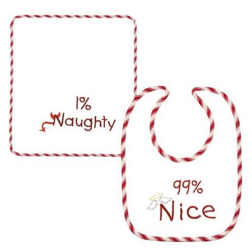 Holiday Baby Bib with Burp Cloth 99% Nice 1% Naughty 2 Piece Set