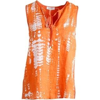 Calvin Klein Womens Linen Printed Tank Top