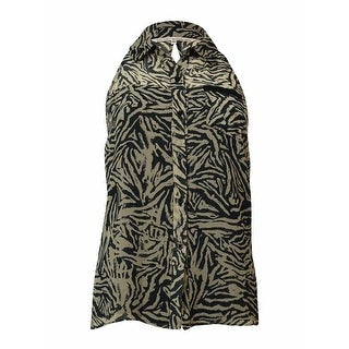 Rachel Rachel Roy Women's Sleeveless Halter Button Down Blouse - flax/black - xs
